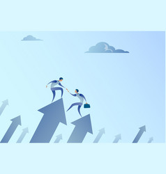 two businessmen stand on financial arrow up vector image