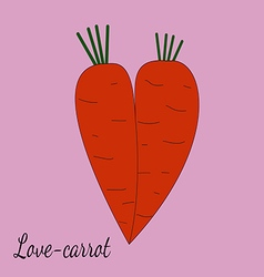 Two orange carrots merged with each other in the vector image
