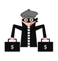 Unsatisfied thief cartoon vector