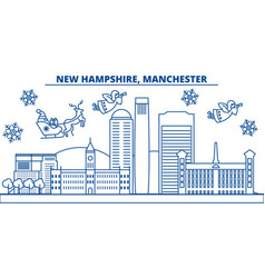 usa new hampshire manchester winter city vector image