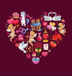 valentines day gifts cupids symbols heart vector image