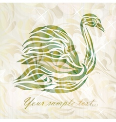 Vintage swan on background vector