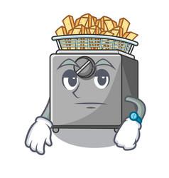 Waiting deep fryer machine isolated on mascot vector