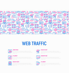 Web traffic concept with thin line icons vector