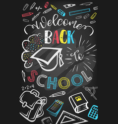 welcome back to school greeting poster design vector image