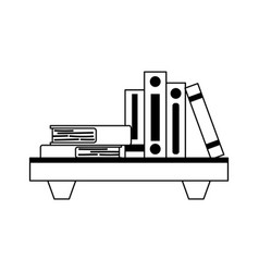 wood shelf with stack books isolated design vector image