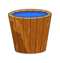 wooden bucket full of water cartoon isolated on vector image