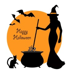 beautiful witch and cauldron vector image
