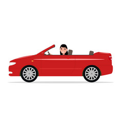 cartoon girl riding in a red car cabriolet vector image vector image