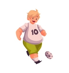 Fat boy playing football getting fit active vector image