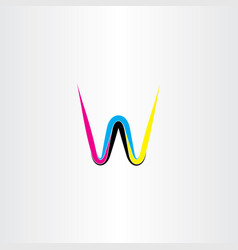 letter w cmyk colorful icon logo vector image vector image