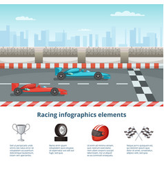 sport infographic with race cars of formula 1 vector image