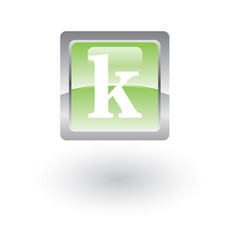 square glossy icon letter k vector image