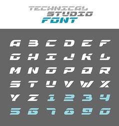 Tech letters stencil font Wide bold italic techno vector image vector image