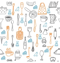 Cute seamless pattern with kitchen equipments vector image vector image