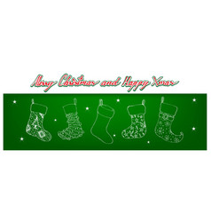 hand drawn of lovely christmas stockings on green vector image