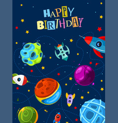 happy birthday gift card with cute planets and vector image