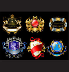 set of colorful royal stickers or emblems vector image