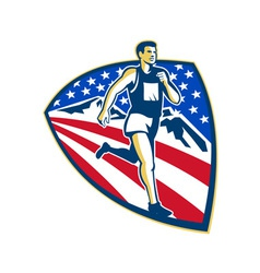 American marathon runner running retro vector