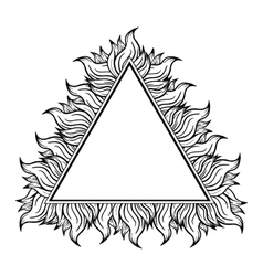 Black white triangle frame with spurts of flame vector image vector image