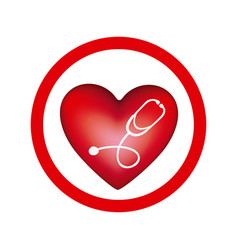 circular frame with heart and stethoscope inside vector image