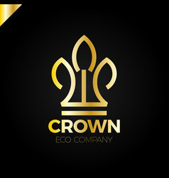 Eco nature green leaves crown logo vector