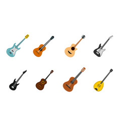 guitar icon set flat style vector image