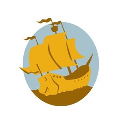 sailing ship galleon retro vector image vector image
