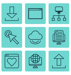 set of 9 online connection icons includes vector image vector image