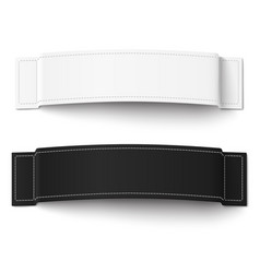 Two white and black fabric labels with stitching vector
