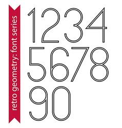 Black slim numbers single color delicate digits vector image vector image