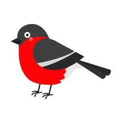 Bullfinch winter red feather bird Cute cartoon vector image