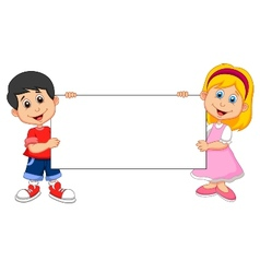Cartoon Boy and girl holding blank sign vector image vector image