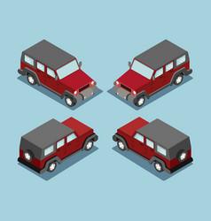 isometric safari off road car isometric suv red vector image