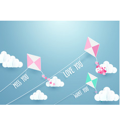 paper art fly kite and clouds on a blue sky vector image