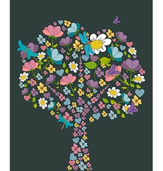 Spring tree flower shape vector image vector image