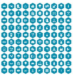 100 farm icons sapphirine violet vector