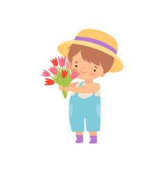 Adorable little boy in hat standing with bouquet vector