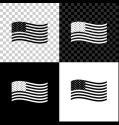 american flag icon isolated on black white and vector image