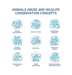 Animal abuse and wildlife conservation turquoise vector
