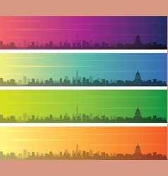 Austin multiple color gradient skyline banner vector
