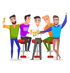 Bachelor party men drinking beer toast vector