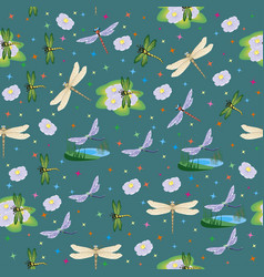 background seamless pattern with dragonflies vector image