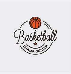 basketball championship logo round linear ball vector image