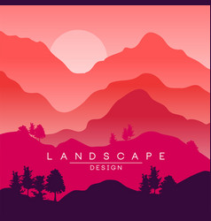 beautiful peaceful landscape red and pink vector image