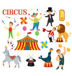 big set of cartoon colorful circus artists vector image