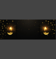 Black and gold happy diwali banner with text space vector