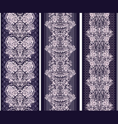 black and white lace vertical seamless border vector image