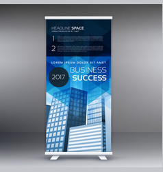 blue vertical roll up banner template design for vector image