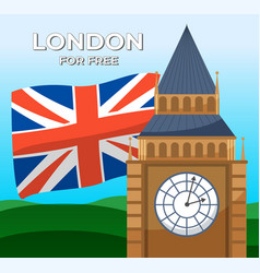 British union jack flag big ben london for free vector
